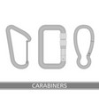 carabiners icon set vector image