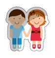 cute little couple character vector image