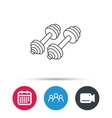 Dumbbell icon Fitness sport or gym sign vector image