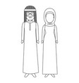 muslim couple avatars characters vector image