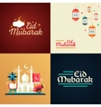 Postcard templates set with islamic culture icons vector image