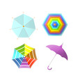 umbrella parasol side and top view rainbow color vector image