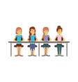 white background with teamwork of women sitting in vector image