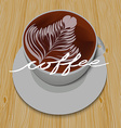 White cup of cappuccino on the wooden table and vector image