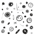 Buttons and Needles Set Ink Drawing vector image vector image