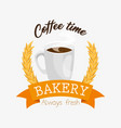 coffe time bakery label vector image