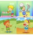 set of child activities cartoon vector image vector image