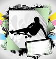 longboarder summer frame vector image vector image