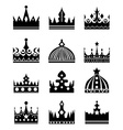 black crown icons set vector image