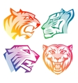 Colorful tiger head logos with rainbow gradients vector image