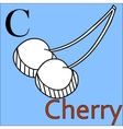 C letter alphabet Coloring book cherry vector image