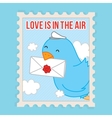 Love is in the air Valentines Day postcard vector image
