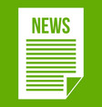 news newspaper icon green vector image