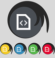 Programming code icon sign Symbol on five colored vector image