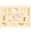 Set of sewing equipment Hand drawn vector image