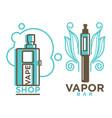 vapor bar and shop logo design isolated vape e vector image