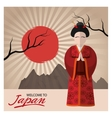 Woman with traditonal cloth of Japan design vector image