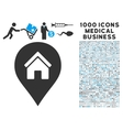 Realty Map Marker Icon with 1000 Medical Business vector image