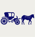 Vintage carriage and horse vector image