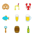 Ale icons set cartoon style vector image