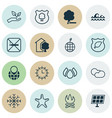 set of 16 eco icons includes house sun power vector image