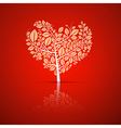 heart shaped tree with green leaves vector image vector image