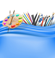 palette and office supplies vector image