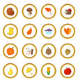 autumn items icons circle vector image