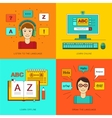 Foreign language education online vector image