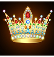 royal shiny gold crown with precious stones vector image