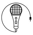 microphone music karaoke sound outline vector image