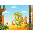 Cartoon dinosaur tyrannosaurus looks sideways vector image vector image