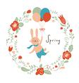 cute bunny flies with color balloons vector image vector image