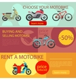 Motorbike rent and buy banners vector image vector image