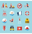 Lifeguard icons set vector image