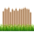 Rural wooden fence palisade in green grass vector image