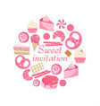 sweet invitation cute pink sweet card vector image
