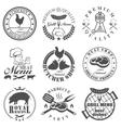 Set of butcher shop labels vector image