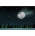 meteorite falls over the night wood vector image vector image