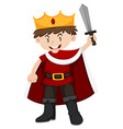 Kid in king costume with sword vector image