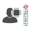 neuro interface flat icon with free bonus elements