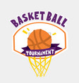 basketball tournament poster hand drawn cartoon vector image vector image
