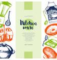 kitchen ware - color drawn vintage banner template vector image