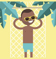 young black character lying in a hammock under vector image vector image
