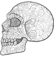 decorated skull profile vector image