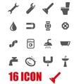 grey plumbing icon set vector image