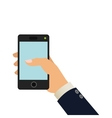 hand holding cellphone icon vector image