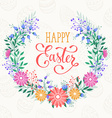 Happy easter wreath vector image