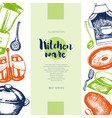 kitchen ware - color drawn vintage banner template vector image