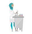 laboratory assistant working with microscope vector image